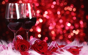 Картинка цветы, вино, красное, розы, бокалы, красные, боке
