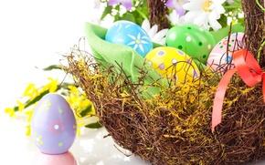Картинка цветы, праздник, корзина, яйца, весна, Пасха, лента, Easter