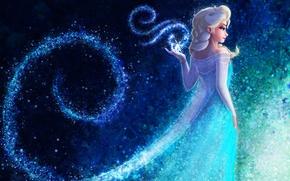 Картинка взгляд, снежинки, мультфильм, платье, арт, белые волосы, Queen Elsa Frozen