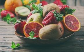 Обои клубника, сладкое, цитрус, еда, фрукты, киви