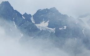 Картинка горы, пасмурно, ледник