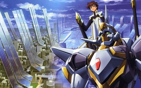 Картинка мегаполис, вид сверху, code geass, голубое небо, боевой робот, suzaku kururugi, by takahiro himura