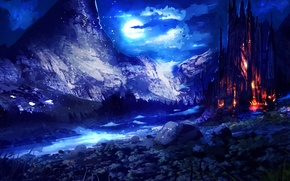Обои луна, небо, фантастика, ночь, арт