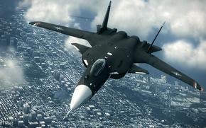 Картинка Облака, Город, Полёт, Сухой, Су-47, Беркут, Su-47