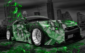 Картинка Ночь, Город, Неон, Зеленый, Тюнинг, Стиль, Ниссан, Обои, GTR, City, Nissan, Anime, Photoshop, Фотошоп, Green, …