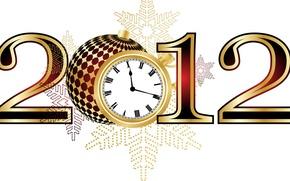 Картинка часы, новый год, цифры, 2012