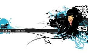 Обои девушка, волосы, минимализм, вектор
