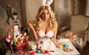 Картинка грудь, девушка, яйца, пасха, кролики, уши, морковь, Mavrin, Aleksandr Mavrin, Катарина Пудар