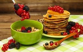 Картинка ягоды, завтрак, мёд, блины, fresh, смородина, ежевика, berries, breakfast, мюсли, pancake
