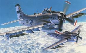 Картинка war, art, airplane, painting, aviation, Douglas A-1 Skyraider