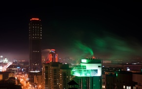Обои небо, ночь, city, город, огни, дом, фото, улица, здания, высота, небоскреб, свечение, крыши, подсветка, мегаполис, ...