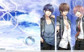Картинка небо, очки, трое, art, студенты, visual novel, otomaru heishi, syukuri akito, muroboshi ron, teita, norn9