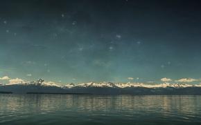Обои вода, звезды, горы, озеро