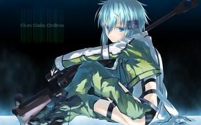 Картинка девушка, оружие, anime, art, sword art online, sao