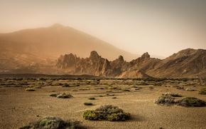 Картинка горы, туман, пустыня