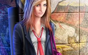 Картинка девушка, стена, арт, форма, школьница, сумка