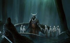 Обои лес, корни, меч, рога, демоны, нежить