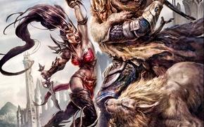 Картинка девушка, оружие, лев, воин, кинжал, мужчина, битва, Age of Reckoning, Warhammer Online
