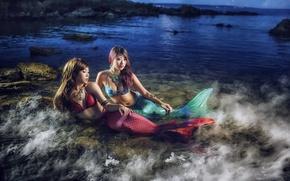 Картинка море, девушки, русалки