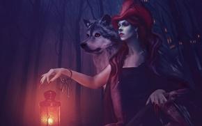 Картинка волк, красная шапочка, фонарь, ключи