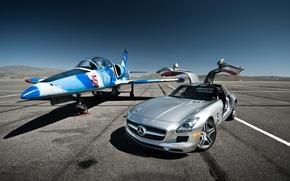 Картинка самолёт, Mercedes-Benz SLS AMG, Aero L-39 Albatros