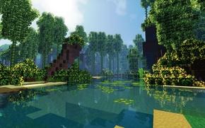 Картинка лес, небо, облака, берег, бамбук, залив, Minecraft
