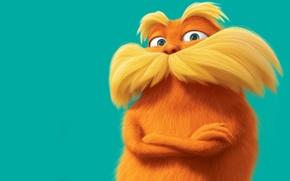 Обои оранжевый, синий фон, усатый, лоракс, The Lorax
