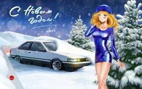 Картинка девушка, снег, фон, Toyota, AE86, Тойота, С Новым Годом, 2015, drom, дром, Corolla Levin