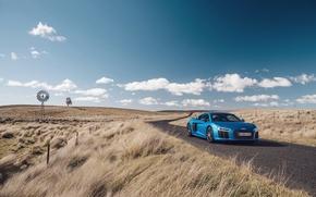 Картинка дорога, авто, небо, трава, синий, Audi, ауди, суперкар, supercar, V10