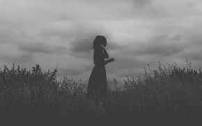 Картинка girl, field, clouds, black dress
