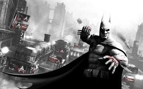 Обои город, batman, кровь, бэтмен, дирижабль, кулак, готэм, arkham city