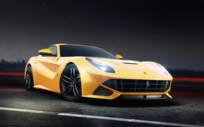 Картинка Ferrari, Front, Yellow, Road, Berlinetta, F12, Ligth, Nigth