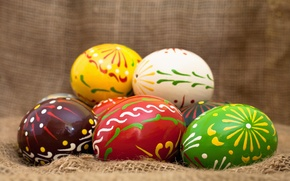 Картинка яйца, пасха, мешковина, крашенки