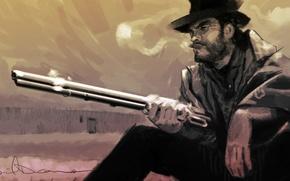 Картинка дикий запад, арт, винчестер, western, рисунок, вестерн, Clint Eastwood, шляпа, Клинт Иствуд, карандашом, a man ...