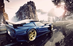 Картинка дорога, снег, горы, corvette, chevrolet