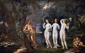 Картинка картина, жанровая, Франческо Альбани, Суд Париса