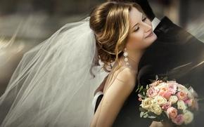 Картинка радость, букет, объятия, невеста, фата, жених