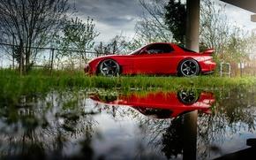 Картинка car, отражение, red, rx7, мазда, mazda rx-7