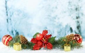 Картинка шарики, елка, ветка, Рождество, Новый год, New Year