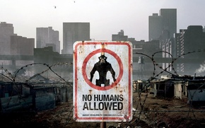 Картинка city, alien, sign, movie, skyscrapers, helicopters, No Humans Allowed, District 9