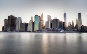 Картинка город, река, небоскребы, США, набережная, New York, Dumbo
