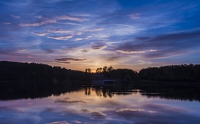 Картинка отражение, деревья, берег, Англия, Великобритания, вечер, лес, облака, небо, водохранилище, закат