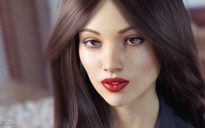 Картинка взгляд, девушка, лицо, рендеринг, волосы, помада, карие глаза