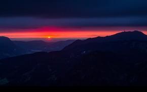 Картинка Germany, горы, Bavaria, природа, небо, пейзаж, закат