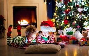 Обои камин, Рождество, Новый год, украшение, child, елка, toys, New Year, книга, gifts, игрушки, дети, гирлянда, ...