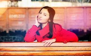 Картинка глаза, девушка, скамейка, дерево, волосы, поезд, губы, girl, пальто, wood, eyes, train, lips, hair, bench, …