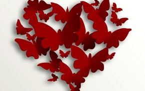 Картинка бабочки, сердце, love, heart, romantic, Valentine's Day