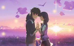 Картинка девушка, любовь, счастье, закат, город, Пара, парень, слёзы