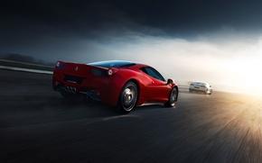 Картинка Ferrari, Nissan, Red, GT-R, 458, White, Supercars, Norway, R35, Italia, Road, Rear
