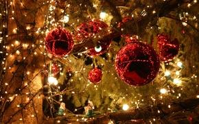 Картинка зима, игрушки, елка, новый год